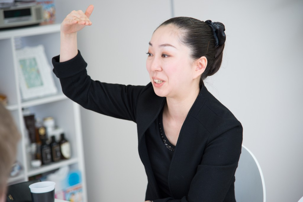 Saori Ito talks about her company during an interview in her Sapporo office (Photo by Zenta Kashimoto).
