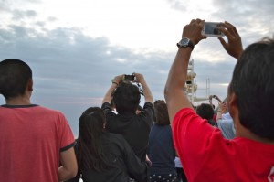 At sunset, passengers flocked to the rear deck to try for the perfect photo.